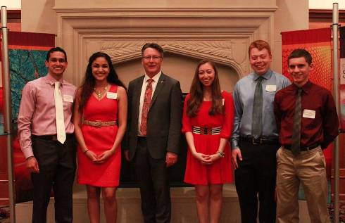 Celebrating the inauguration of the Neuroscience: Club officers and members with Virginia Tech President Timothy D. Sands celebrate the inauguration of the Neuroscience and Nanoscience majors.